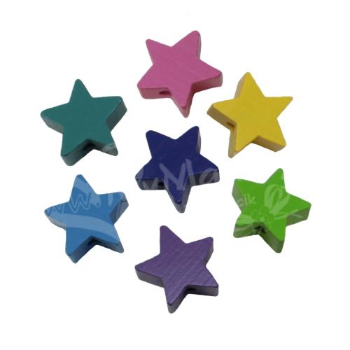 1 10 25 50 100 Stern Farbwahl Schnullerkette basteln Holz Star Motiv Motivperle